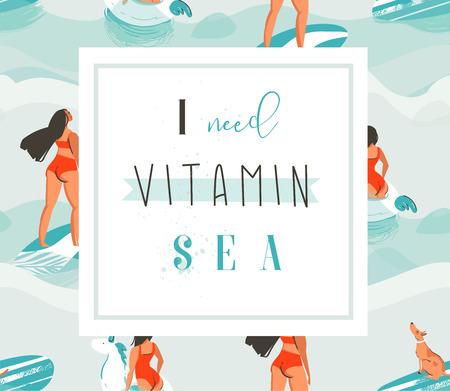 dog: Hand drawn vector abstract creative funny summer time poster with surfer and swimming girls on blue ocean waves with modern calligraphy quote I need vitamin Sea isolated on white background