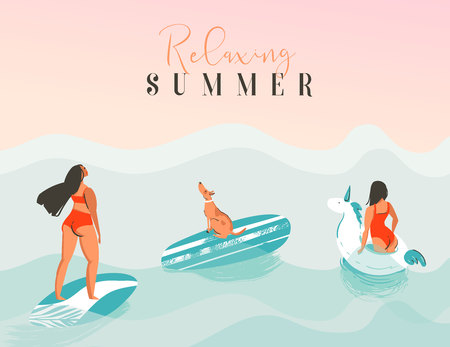 Hand drawn vector abstract exotic summer time funny illustration with surfer girls, unicorn float,surfboard and dog looking at the sunset on blue ocean waves with modern calligraphy Relaxing summer