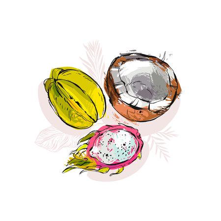 Hand getrokken vector abstracte artistieke ongebruikelijke tropische samenstelling met exotische vruchten kokosnoot, papaja, carambola, en meer.