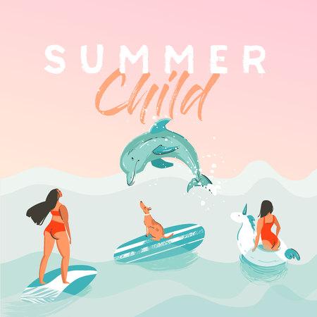 手描きの背景抽象的な夏の時間面白いイラスト ポスター白いユニコーン フロート円でサーファーの女の子と。  イラスト・ベクター素材