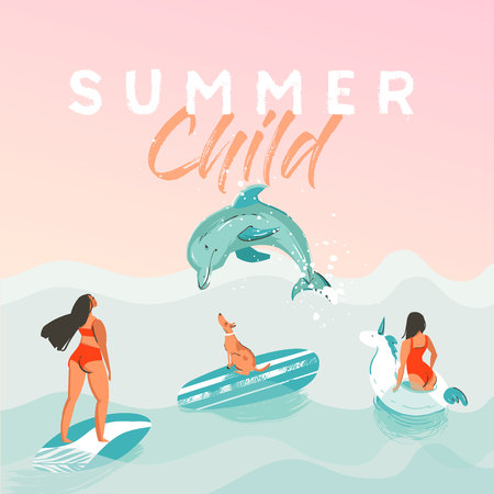 Hand drawn vector abstract summer time funny illustration poster with surfer girls in white unicorn float circle.