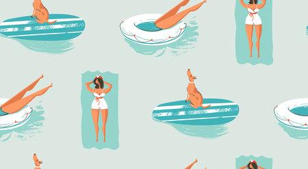 手描きの背景の抽象的なヴィンテージ漫画夏の時間楽しいスイミング人々 のシームレスなパターン。  イラスト・ベクター素材