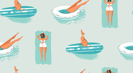Hand drawn vector abstract vintage cartoon summer time fun seamless pattern of swimming people.