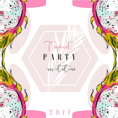 wedding reception decoration: Hand drawn vector abstract artistic freehand textured summer time Tropical party invitation card template with exotic palm leaves.