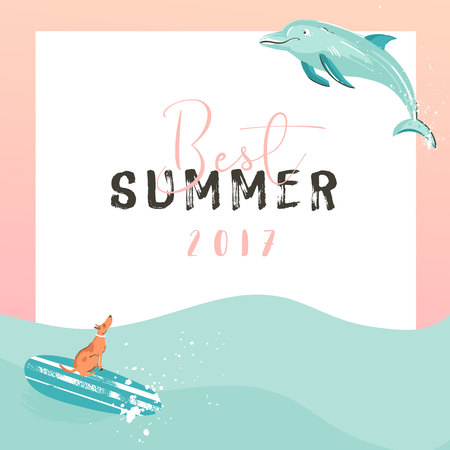 Hand drawn vector funny summer time illustration poster with surfer dog on surfboard.