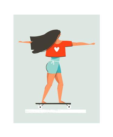 手の描かれたベクター漫画夏時間図を青色の背景に分離されたロングボードに乗って女の子と楽しい  イラスト・ベクター素材
