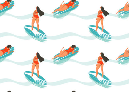 surfboard fin: Hand drawn vector abstract summer time seamless pattern with surfers girl in bikini,surfboards and ocean waves texture isolated on white background