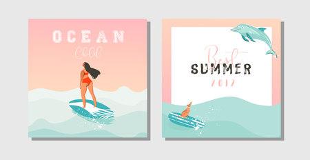Hand getrokken vector abstracte exotische zomertijd grappig opslaan de datumkaarten instellen collectiemalplaatje met surfer meisjes, surfplank, hond en typografie citaat op op blauwe oceaan golven water