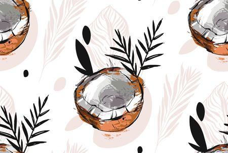 Hand getrokken vector abstracte ongebruikelijke naadloze patroon met exotische tropische fruit kokosnoot mier palmbladeren geïsoleerd op een witte achtergrond.