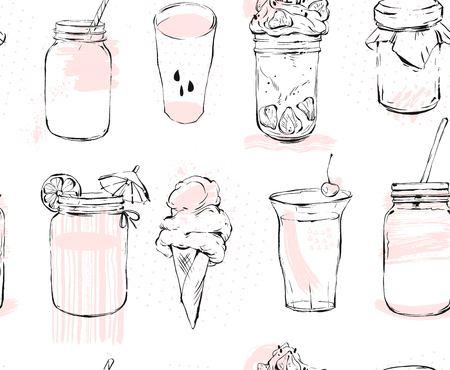 手描き下ろしグラフィック シームレスなパターン ベクトル アイス クリーム、ガラスの瓶、スムージー、ミルクセーキ、レモネード、ジャム、白い