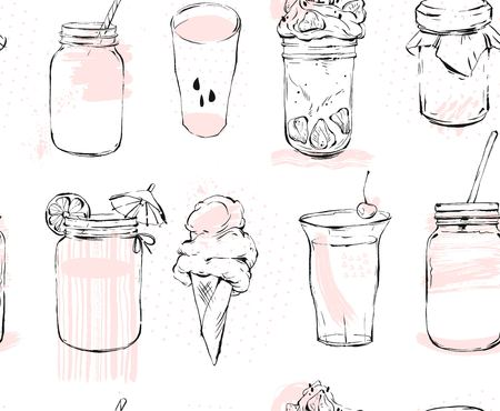 Hand drawn vector graphic seamless pattern with ice cream, glass jar, smoothie, milkshake, lemonade, jam and coctails isolated on white background. Illustration
