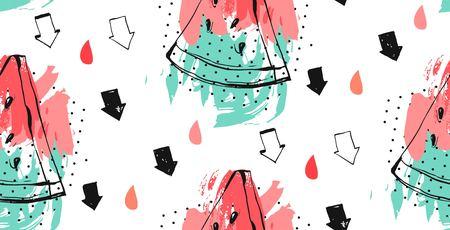 Naadloos watermeloenenpatroon, Vectorachtergrond met de plakken van de waterverfwatermeloen. Stock Illustratie