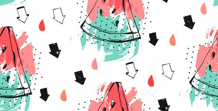 Seamless watermelons pattern, Vector background with watercolor watermelon slices. Illustration