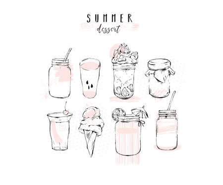 Hand drawn vector graphic summer desserts illustration set collection with lemonade, detox water, alcohol cocktail, fresh cold ice soda, fruit smoothie, ice cream, jam, milkshake isolated on white background