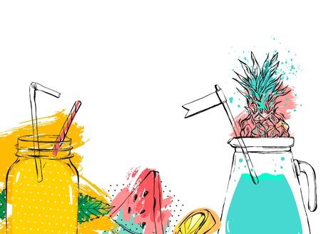 Hand getrokken vector abstracte fruit detox achtergrond met glazen pot, watermeloen, limonade, muntblaadjes, ananas en aquarel freehand texturen geïsoleerd op witte achtergrond Stock Illustratie