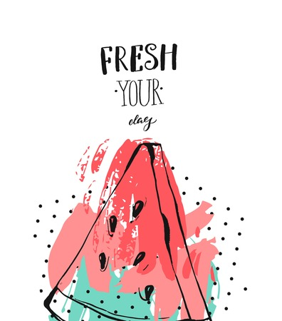Hand drawn vector abstract freehand textured fun watermelon card template with modern handwritten calligraphy quote Fresh Your Day isolated on white background