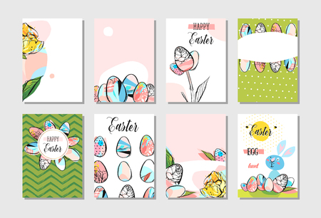 Hand drawn vector abstract creative Happy Easter greeting card design collection set template with flowers,Easter eggs and bunny in pastel colors isolated on white background.Spring Easter background
