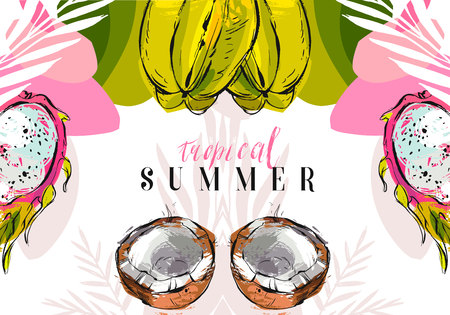 Hand drawn vector abstract unusual freehand textured tropical summer background with exotic fruits isolated on white