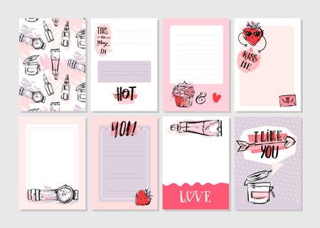 Hand drawn vector abstract creative girlie printable journaling cards template set collection.