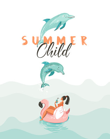 Hand drawn vector creative cartoon summer time poster with jumping dolphins. Illustration