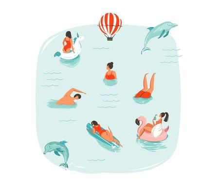 Hand getekende vector abstracte zomertijd leuke illustratie met zwemmen gelukkige mensen met springen dolfijnen, hete lucht ballon, eenhoorn en roze flamingo boeien drijft op geïsoleerde blauwe water achtergrond.