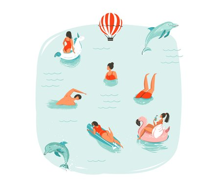 Hand drawn vector abstract summer time fun illustration with swimming happy people with jumping dolphins,hot air balloon,unicorn and pink flamingo buoys floats on blue water background isolated.