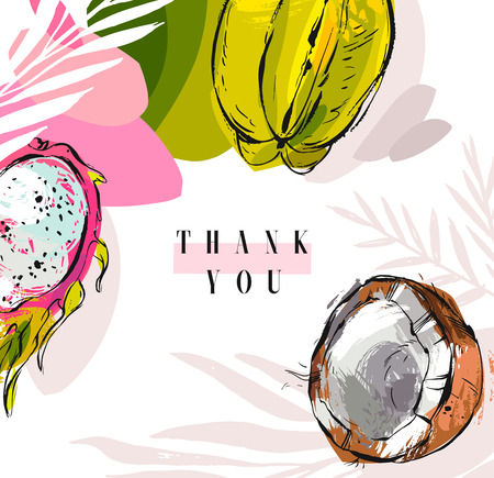 Hand drawn abstract summer time tropical header with coconut,carambola and dragon fruit with modern typography quote Thank you isolated on white background.