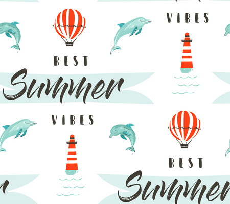 phase: Hand drawn vector abstract summer time illustration seamless pattern with lighthouse,hot air balloon,jumping dolphins and modern typography phase Best summer vibes isolated on white Illustration