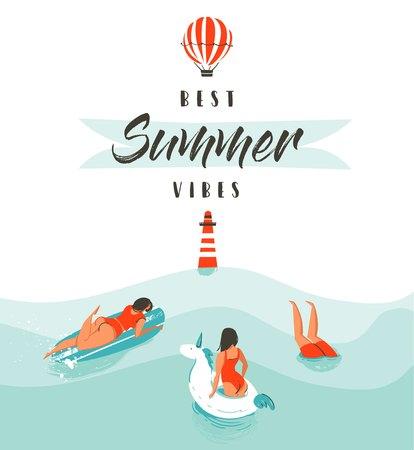 손으로 그린 벡터 추상 여름 시간 등 대, 뜨거운 공기 풍선 및 현대 타이 포 그래피 견적 물에 행복 한 사람들을 수영과 재미있는 그림 최고의 여름