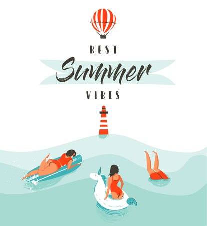 Hand drawn vector abstract summer time fun illustration with swimming happy people in water with lighthouse,hot air balloon and modern typography quote Best Summer Vibes isolated on white background.