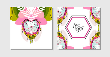 Hand drawn vector abstract freehand textured unusual tropical save the date cards set collection template with palm leaves and dragon fruit in bright colors isolated on white background Illustration