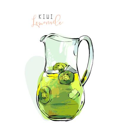 フリーハンド手描きの背景抽象的なテクスチャ レモン、白い背景で隔離の氷とガラスのピッチャーにさわやかなキウイ レモネード イラスト