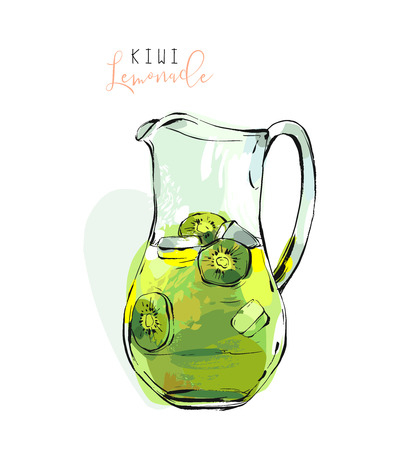Hand drawn vector abstract freehand textured refreshing kiwi lemonade illustration in glass pitcher with lemons and ice cubes isolated on white background Çizim