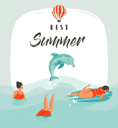 Hand drawn vector abstract summer time fun illustration card template with swimming happy people in sea waves with jumping dolphin and modern typography phase best summer 版權商用圖片 - 81348850