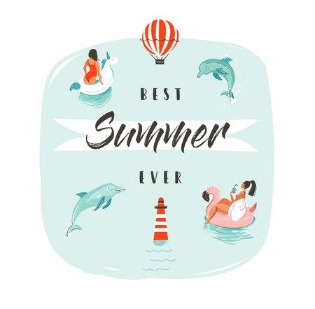 손으로 그린 벡터 추상 여름 시간 재미 돌고래와 현대 타이 포 그래피 단계 최고의 여름 점프와 물에 행복 한 사람들을 수영 그림.
