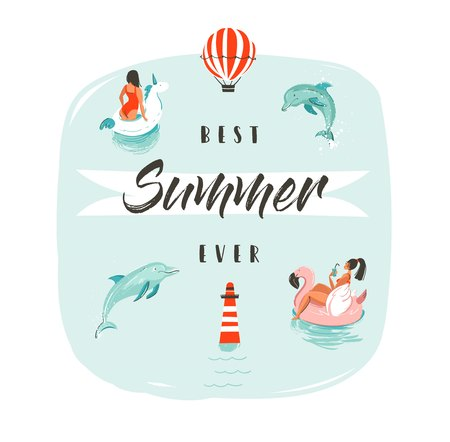Hand drawn vector abstract summer time fun illustration with swimming happy people in water with jumping dolphins and modern typography phase best summer ever. Иллюстрация