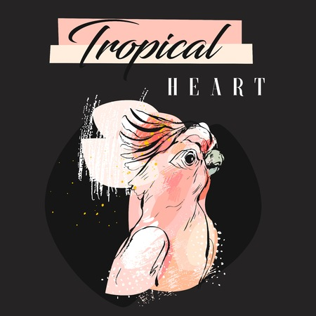 Hand drawn vector abstract creative tropical parrot collage with freehand organic texture and Tropical heart modern calligraphy in pastel colors isolated on black Ilustração