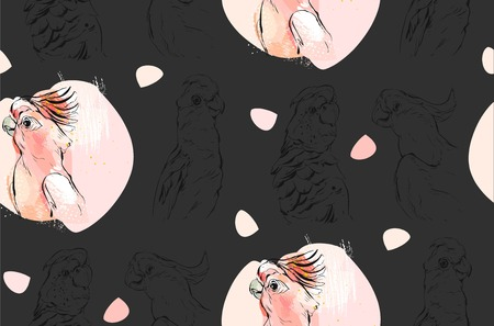 macaw: Hand drawn vector abstract textured graphic seamless pattern collage with exotic tropical parrots in pastel color isolated on black background