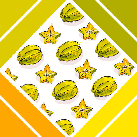 wedding reception decoration: Hand drawn vector abstract summer time tropical fruits carambola unusual background isolated on white Illustration