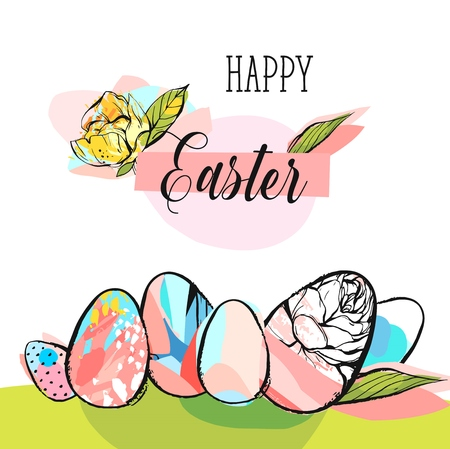Hand drawn vector abstract creative Happy Easter greeting card design template with illustrations of Easter eggs,Happy Easter phase and flower in yellow,green and pastel colors on white background. 向量圖像