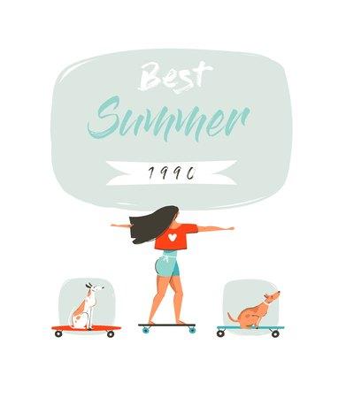 Hand getekend vector cartoon zomer plezier illustratie met jong meisje rijden op lange bord, honden op skateboards en moderne typografie Beste zomer 1990 geïsoleerd op een witte achtergrond. Stock Illustratie