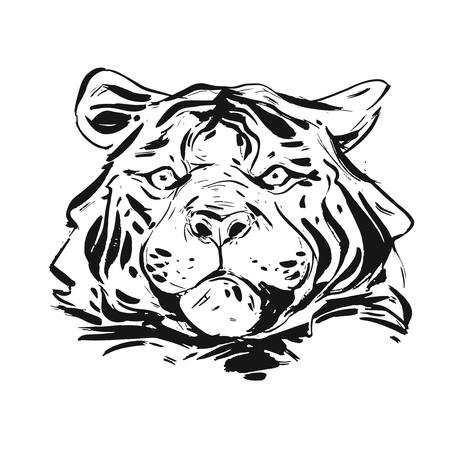 Hand drawn vector abstract ink graphic rough tiger head illustration isolated on white background.Nature tribal wild life concept. Ilustração