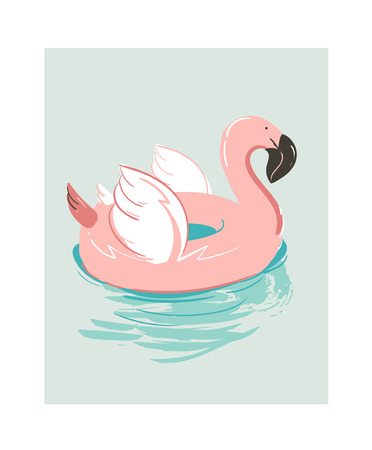 Hand drawn abstract cartoon summer time fun illustration with pink flamingo.