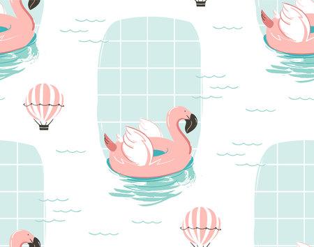 Dé el modelo inconsútil del ejemplo abstracto dibujado mano de la diversión del tiempo de verano de la historieta con el flamenco rosado. Foto de archivo - 81388700