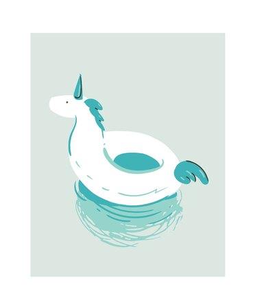 Hand getrokken vector abstracte cartoon zomer tijd plezier illustratie met witte eenhoorn zwembad boei vlotter cirkel geïsoleerd op blauwe achtergrond.