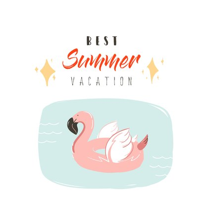 Hand drawn vector abstract summer time fun illustration with pink flamingo buoy ring in pastel colors and modern typography quote Best Summer Vacation isolated on white background