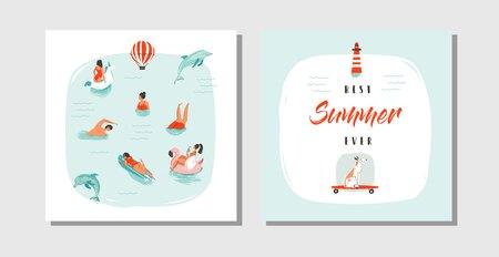 손으로 그린 벡터 추상 만화 여름 시간 재미 카드 컬렉션 푸른 바다 물, 강아지 스케이트 보드와 타이 포 그래피 견에 행복 수영 사람들과 서식 파일 설