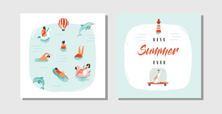 Hand getrokken vector abstracte cartoon zomertijd plezier kaarten collectie ingesteld sjabloon met gelukkig zwemmen mensen in blauwe oceaanwater, hond op skateboard en typografie citaat beste zomer ooit geïsoleerd