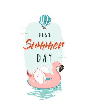 Hand getrokken vector abstracte de pretillustratie van de de zomertijd met de roze ring van de flamingobeik in pastelkleuren en de moderne die Dag van de typografierequote Beste die de Zomerdag op witte achtergrond wordt geïsoleerd.