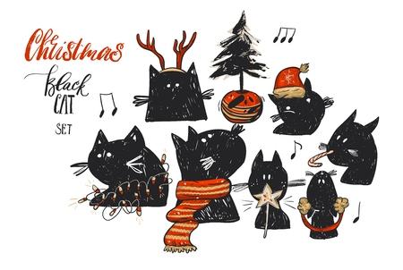 手描きの背景は、クリスマス イラスト コレクション赤いクリスマスの服の面白い落書き黒い猫文字と白で隔離ポット クリスマス ツリー セットを抽